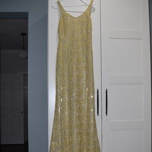 Badgley Mischka Size 8 Gold Beaded Evening Gown